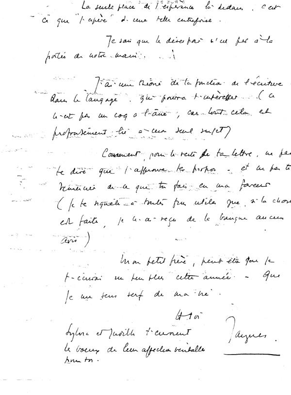 lettres de Jacques lacan à Marc François